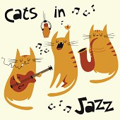 Cats in jazz vector illustration for your design