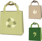 Environmentally friendly cloth bags with symbols.
