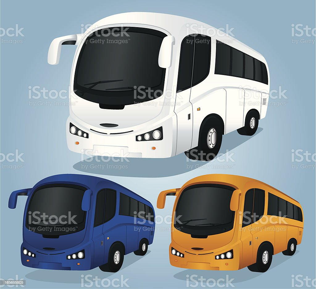 Illustration of three different colored tour buses vector art illustration
