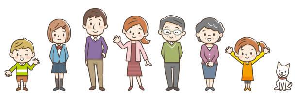 ilustrações de stock, clip art, desenhos animados e ícones de illustration of three generation family - somente japonês