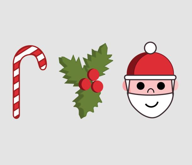 Illustration of three icons or symbols of Christmas Season.  Red and white candy cane, holly christmas and Santa Claus head. vector art illustration