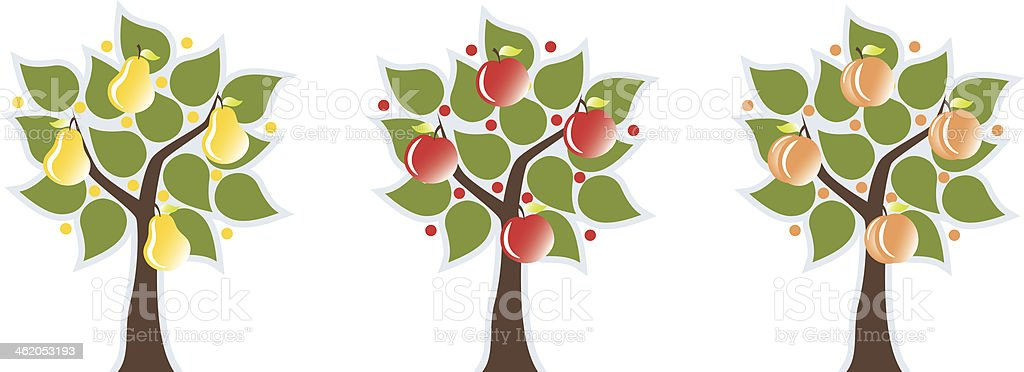 Illustration of three trees with various fruit vector art illustration