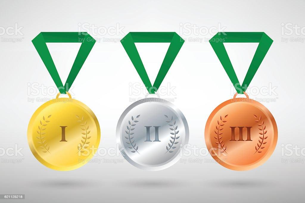 Illustration of three winners sports style medals vector art illustration