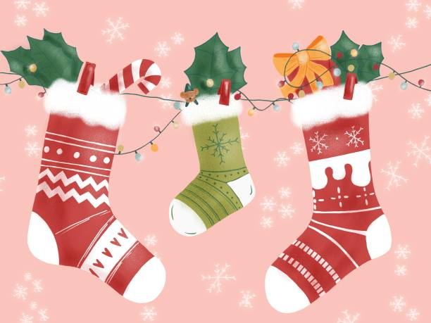 illustration of three winter socks hanging on Christmas decoration vector art illustration