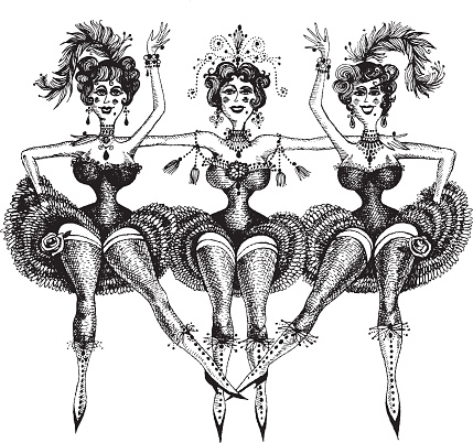 Illustration of three women cancan dancing