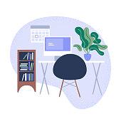 istock Illustration of tidy modern office workspace 1294693858
