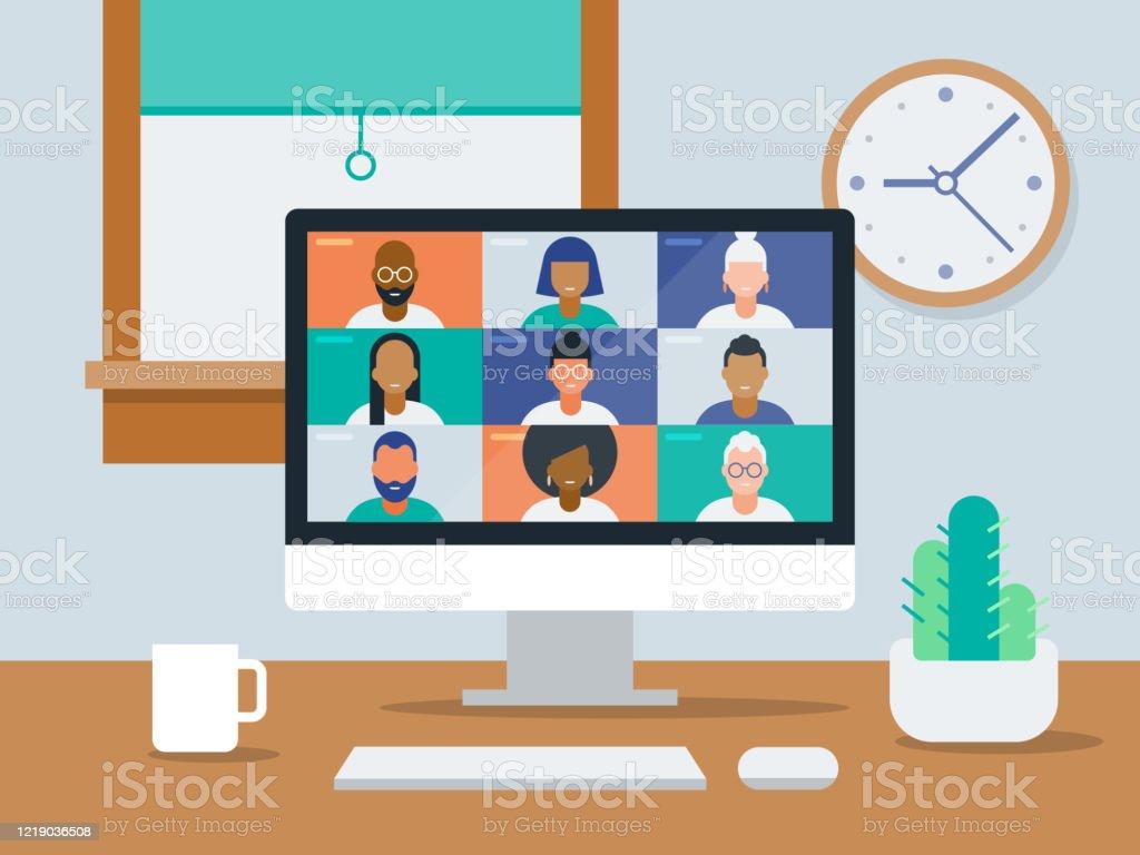Illustration eines aufgeräumten Work-from-Home-Büros mit Videokonferenz auf dem Computerbildschirm - Lizenzfrei Abstand halten - Infektionsvermeidung Vektorgrafik