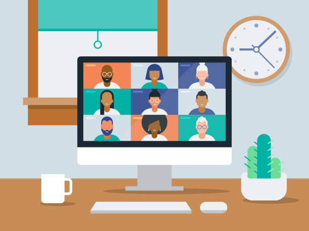 illustration of tidy work-from-home office with video conference on computer screen - diversity stock illustrations