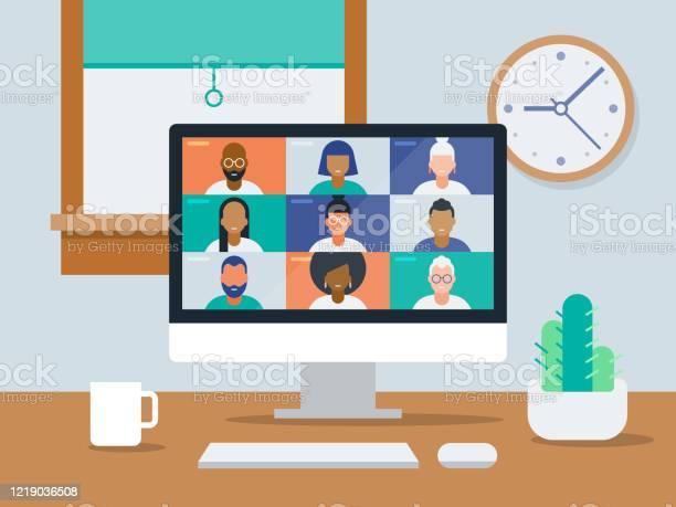 Illustration Eines Aufgeräumten Workfromhomebüros Mit Videokonferenz Auf Dem Computerbildschirm Stock Vektor Art und mehr Bilder von Abstand halten - Infektionsvermeidung