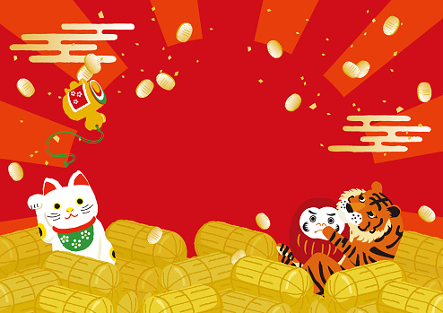 Illustration of Tigers with lucky charm background for New Year's Day.
