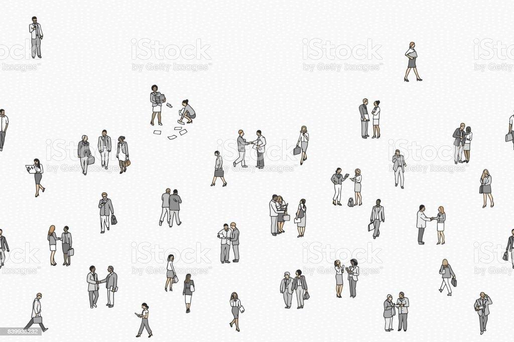 Illustration of tiny businesspeople vector art illustration