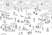 Seamless banner of tiny people at the beach, can be tiled horizontally: a diverse collection of small hand drawn men, women and kids playing, sunbathing and walking at the beach