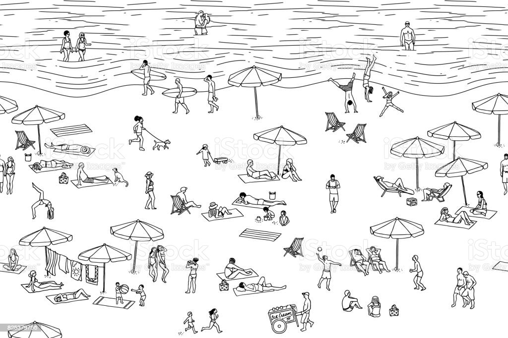 Illustration of tiny people at the beach vector art illustration