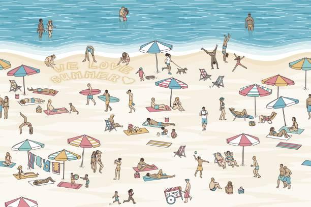 Abbildung von winzigen Menschen am Strand – Vektorgrafik