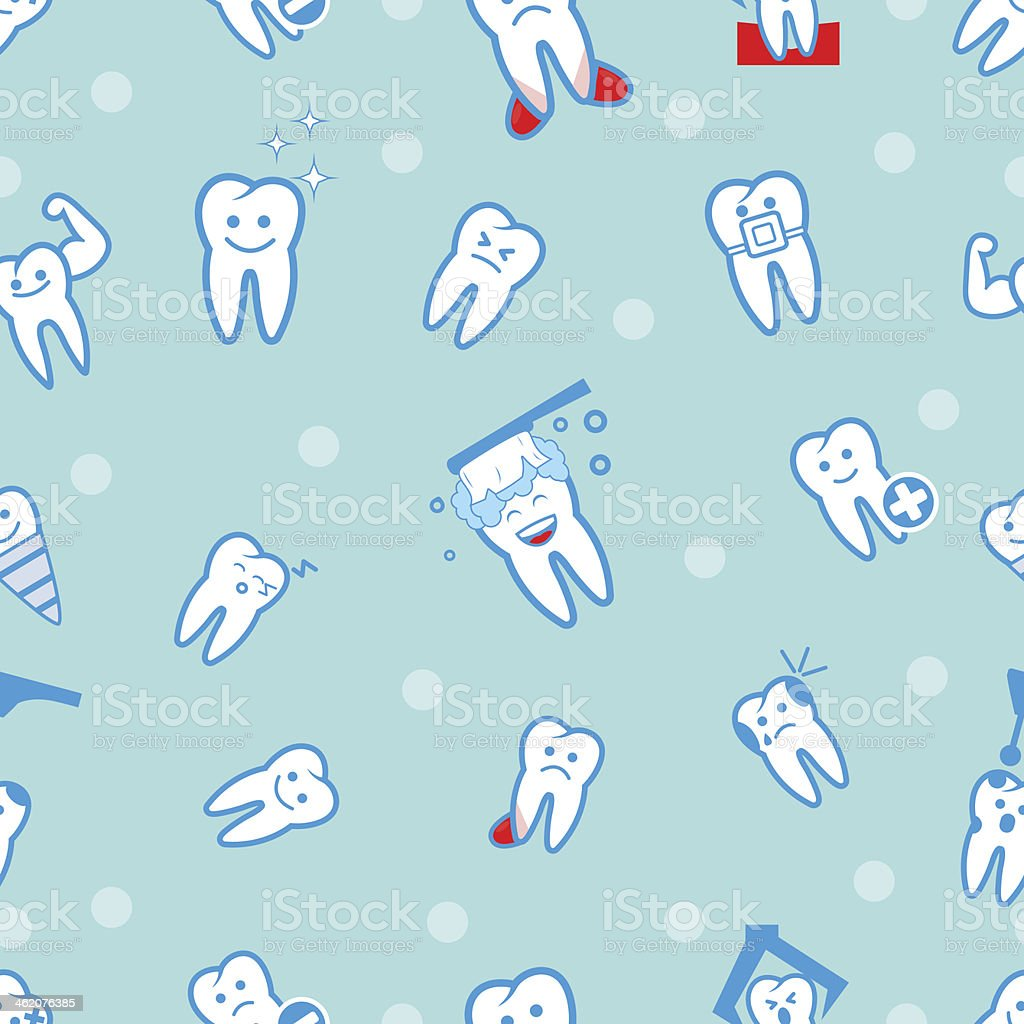 illustration of tooths on a blue background vector art illustration