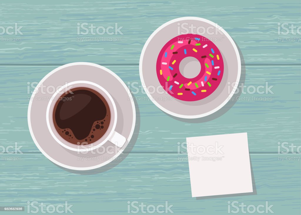 Illustration of top view table with cup of coffee, donut and blank note for text vector art illustration