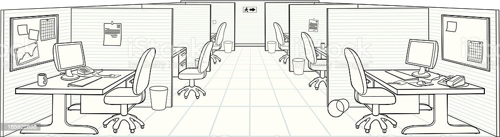 Illustration of traditional office setting with cubicles vector art illustration
