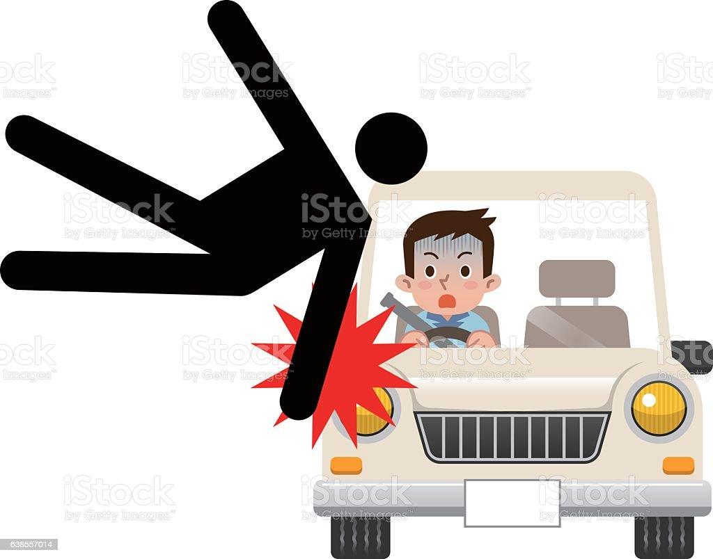 Illustration of traffic accident vector art illustration