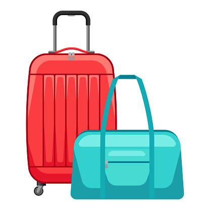 Illustration of travel suitcase and bag.