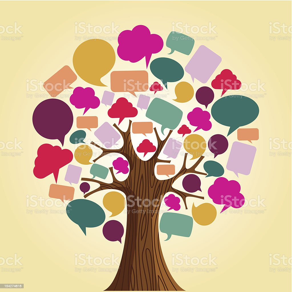 Illustration of tree with speech bubbles instead of leaves vector art illustration