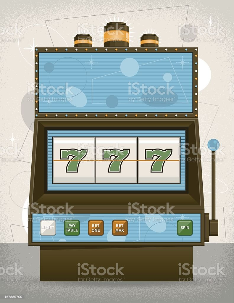 Illustration of triple 7's in a vintage slot machine royalty-free stock vector art