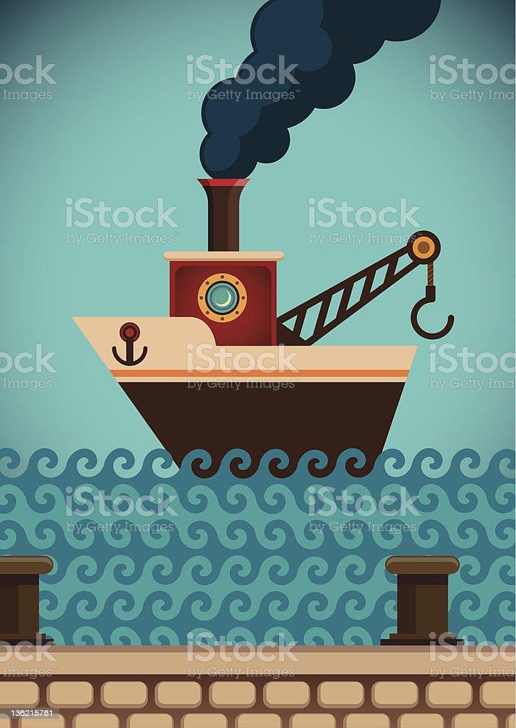 Illustration of tugboat. royalty-free stock vector art