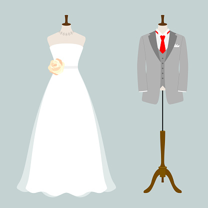 Illustration of tuxedo and wedding dress (white background, vector, cut out)