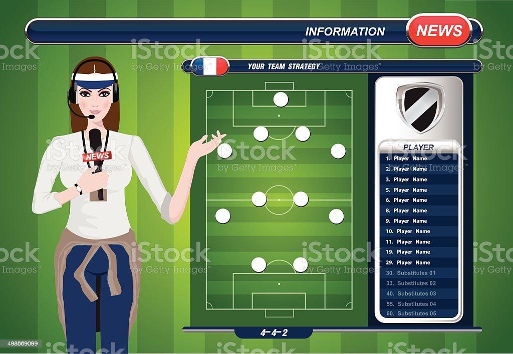 ilustração de desporto repórter de tv trabalho gráficos de