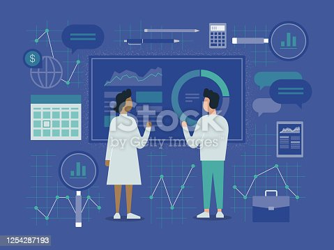 istock Illustration of Two Business Colleagues Analyzing Financial Data 1254287193