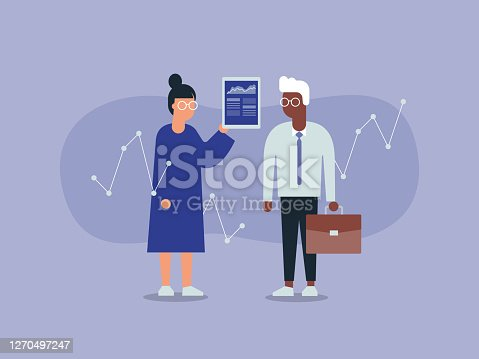 istock Illustration of Two Business Colleagues Analyzing Financial Data 1270497247