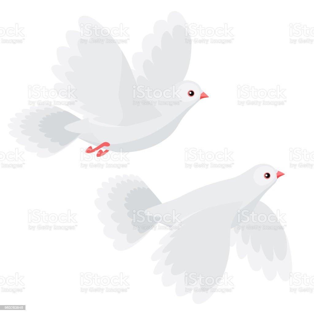 Ilustración De Ilustración De Dos Palomas Volando Aislado Sobre