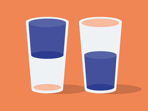 Illustration of two drinking glasses, glass half full or glass half empty