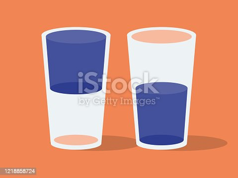 istock Illustration of two drinking glasses, glass half full or glass half empty 1218858724
