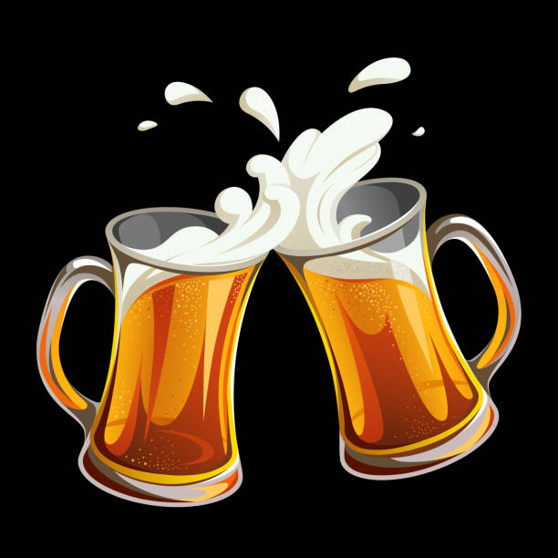 Illustration of two glass toasting mugs with beer on black background. Cheers beer glasses. Print, template, design element. Images for your design projects beer glass stock illustrations