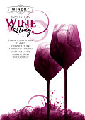 Illustration of two glasses of red wine, elongated. Wine stains and drops. White background with sample text. Elegant, creative, artistic. Poster, flyer, banner, magazine cover, decoration. Vector drawing