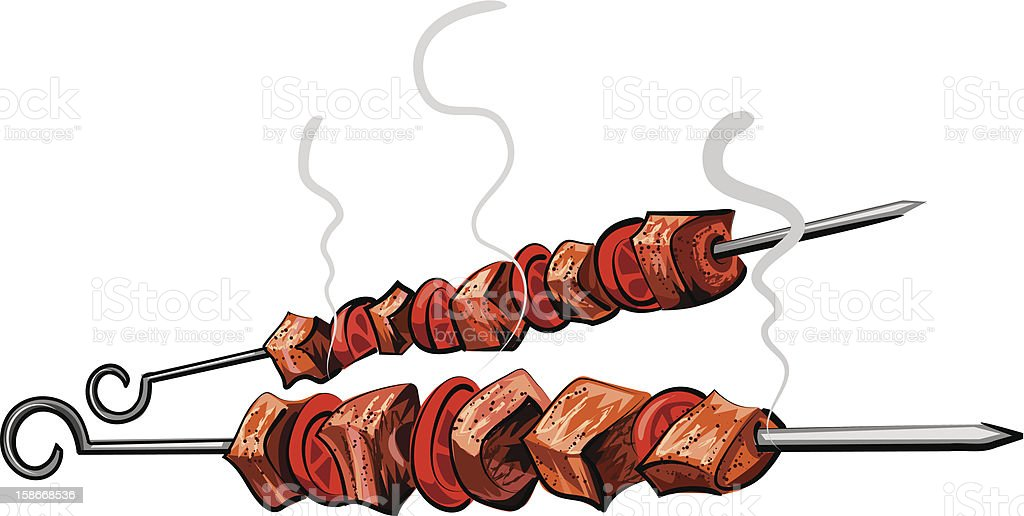 Illustration of two grilled meat kebabs isolated on white royalty-free illustration of two grilled meat kebabs isolated on white stock vector art & more images of barbecue