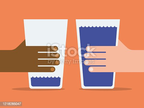 istock Illustration of two hands with empty and full water glasses 1218285047