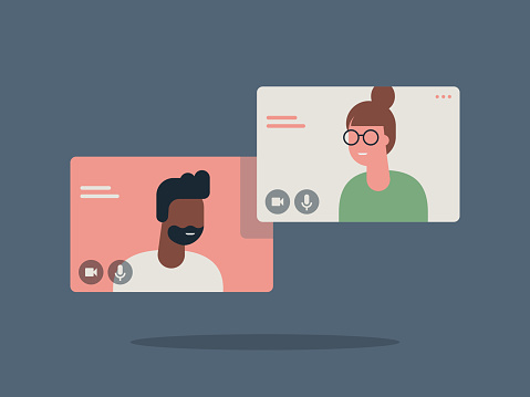 Illustration of two happy people talking via video call
