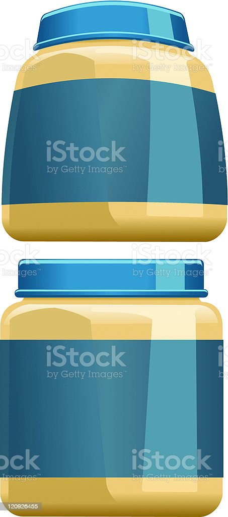 Illustration of two jars with blue labels royalty-free stock vector art