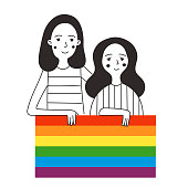 Illustration of two lesbians holding a rainbow flag. Meeting against discrimination. Vector illustration in simple style. Design for print on clothes. For web, poster, banner.