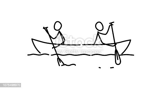istock Illustration of two men in a boat. Vector. Each team in their own way. Conflict of interest. Metaphor. Contour picture. Leader race. Ambitions bosses. 1075498970