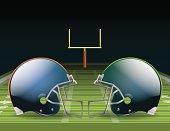 Illustration of two opposing helmets on a football field