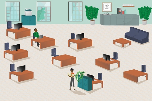 Illustration of two people working in office