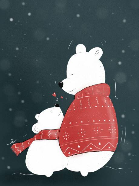 illustration of two polar bears hugging each other with Christmas and Winter clothes vector art illustration