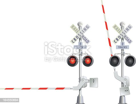 vector illustration of crossing rail road open and closed