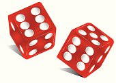 Illustration of two red dice against white background