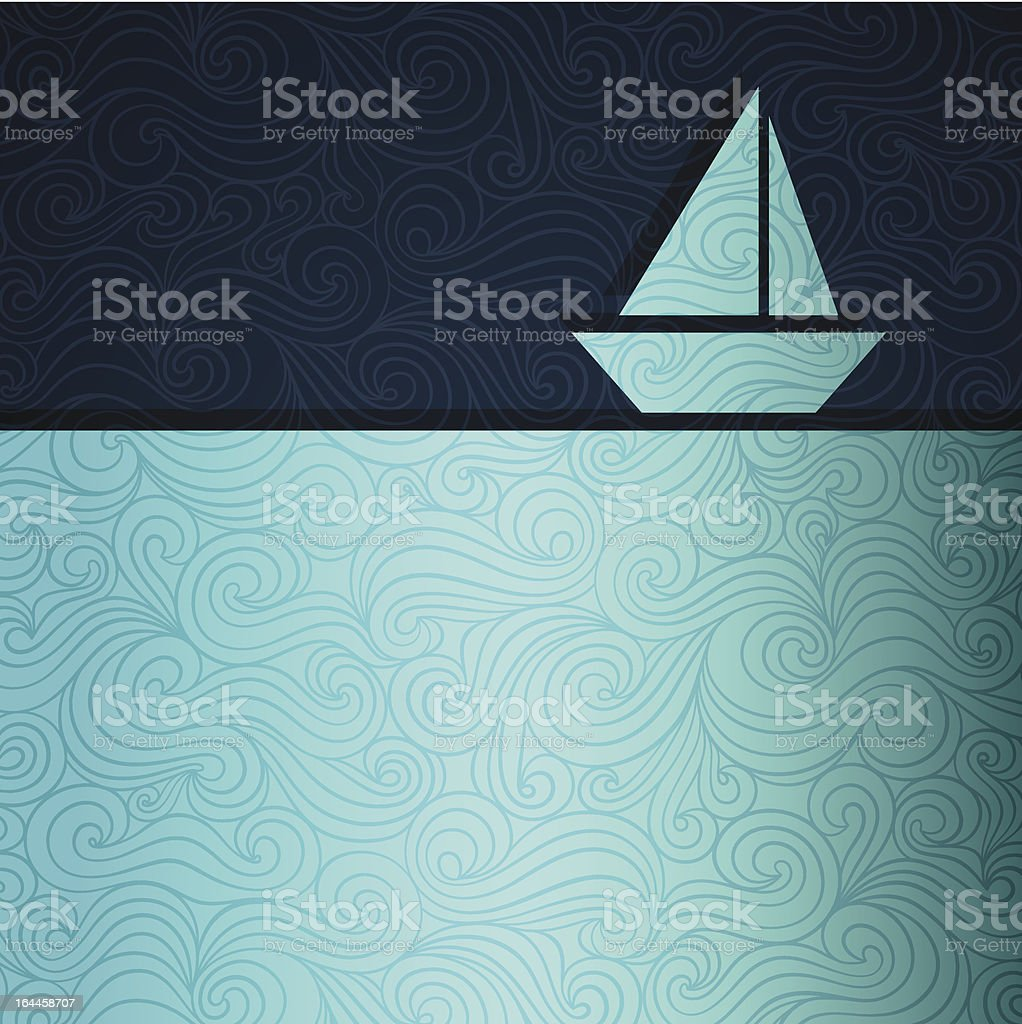 Illustration of two tones of blue waves and sky with boat vector art illustration