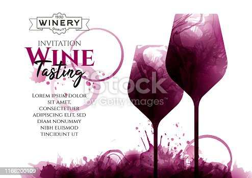 Illustration of two wine glasses with red wine stains, vector. Full glass, no people. Splashes of wine, liquid, drops, circles of glass. Drawing for wine designs. Event, party, presentation, promotion, menu, book cover.