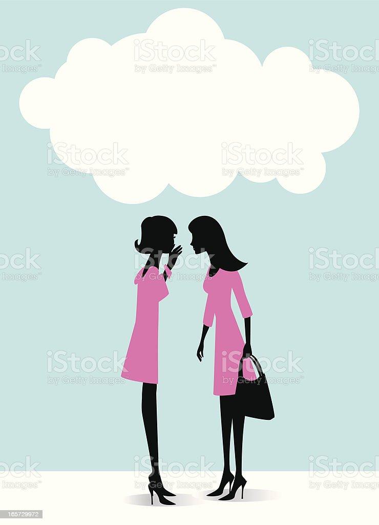 Illustration of two women in pink dresses gossiping vector art illustration
