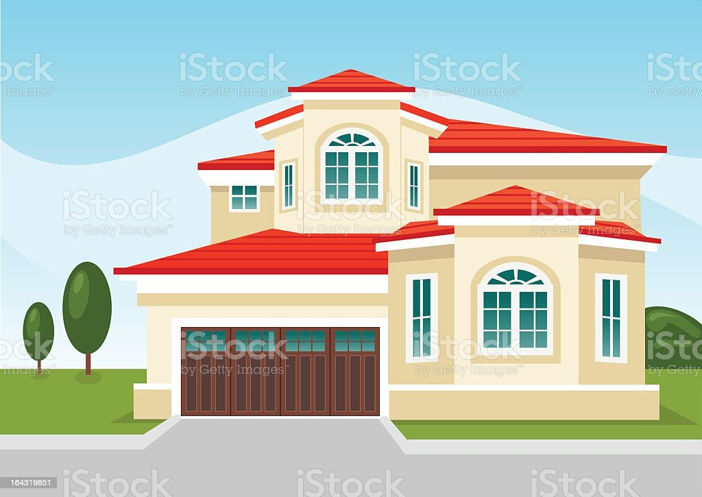 Illustration of two-story suburban home with attached garage royalty-free stock vector art
